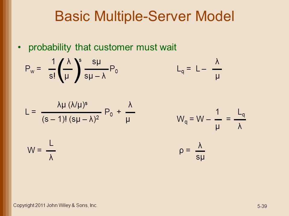 5-39 Basic Multiple-Server Model probability that customer must wait Copyright 2011 John Wiley & Sons, Inc. ( ) 1 λ s sμ s! μ sμ – λ P w = P 0 λμ (λ/μ