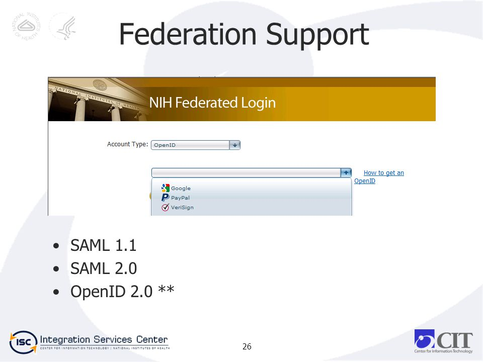 Federation Support SAML 1.1 SAML 2.0 OpenID 2.0 ** 26