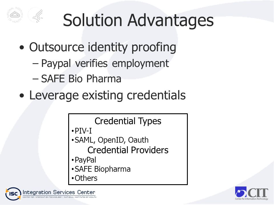 Solution Advantages Outsource identity proofing –Paypal verifies employment –SAFE Bio Pharma Leverage existing credentials Credential Types PIV-I SAML