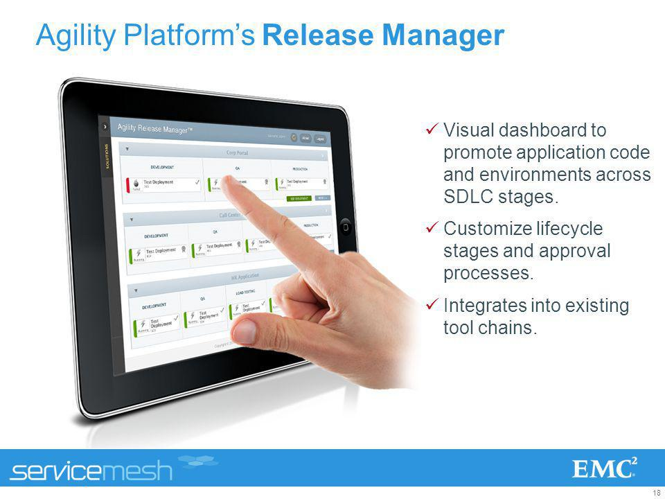 18 Agility Platforms Release Manager Visual dashboard to promote application code and environments across SDLC stages. Customize lifecycle stages and