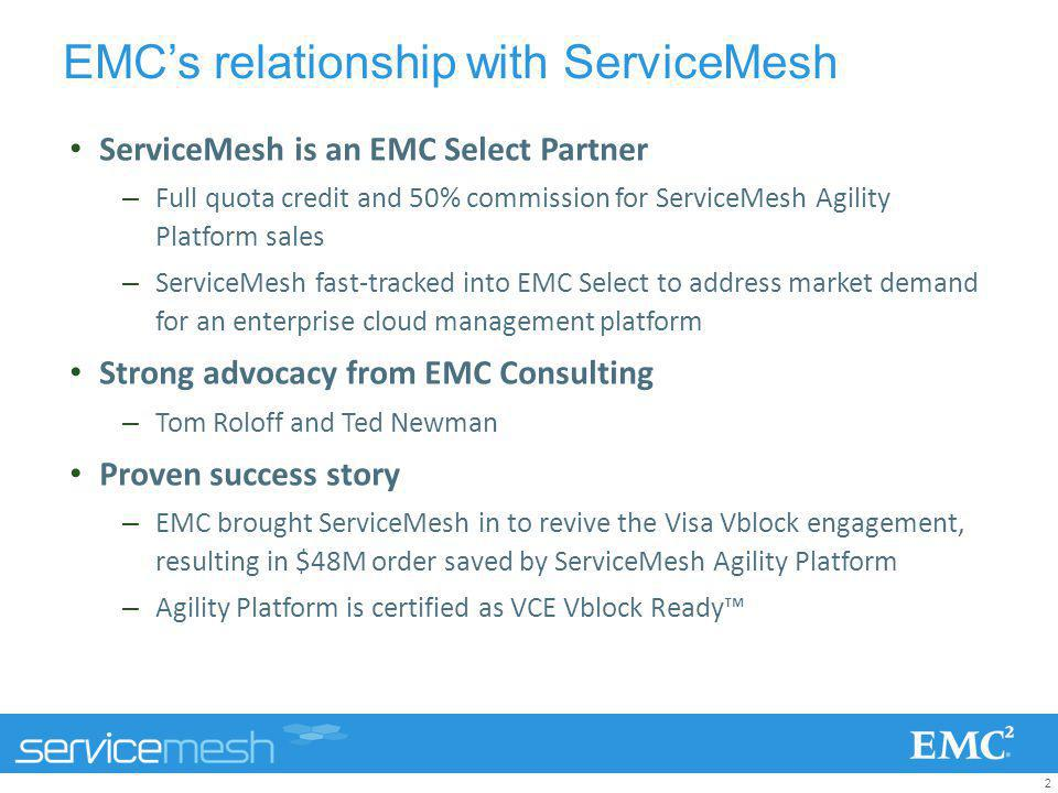 2 EMCs relationship with ServiceMesh ServiceMesh is an EMC Select Partner –Full quota credit and 50% commission for ServiceMesh Agility Platform sales