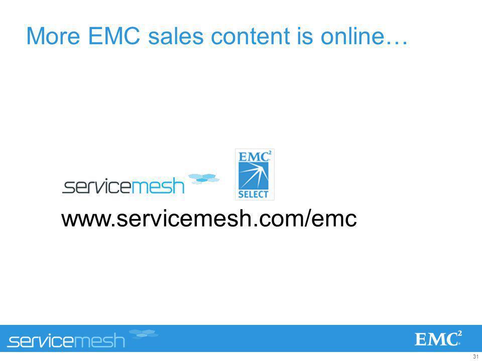 31 More EMC sales content is online… www.servicemesh.com/emc