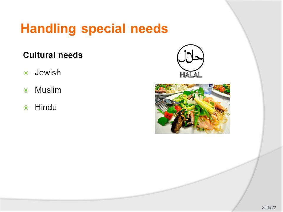 Handling special needs Cultural needs Jewish Muslim Hindu Slide 72
