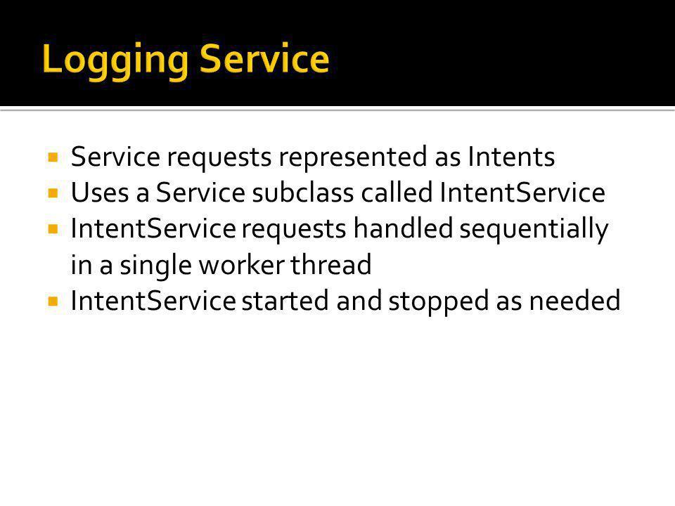 public class BGLoggingDemo extends Activity { public void onCreate(Bundle savedInstanceState) { … buttonStart.setOnClickListener(new OnClickListener() { public void onClick(View v) { Intent intent = new Intent(BGLoggingDemo.this, BGLoggingService.class); intent.putExtra( course.examples.Services.Logging , Log this message ); startService(intent); } }); }