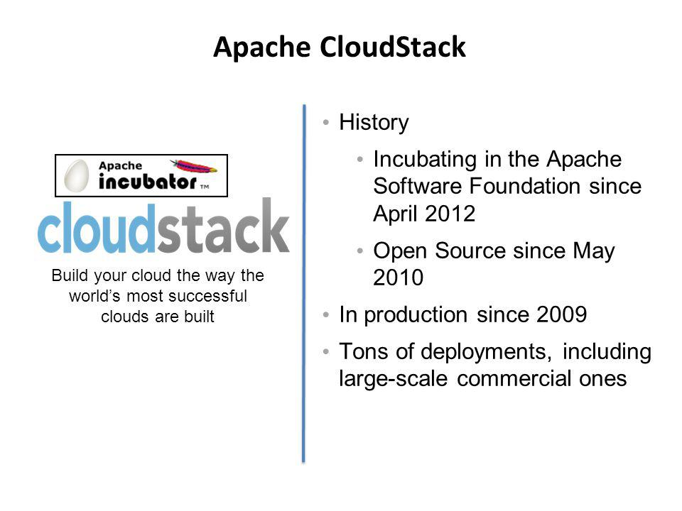 CloudStack SDN Integration Nicira NVP – L2 (STT) isolation in 4.0 – Source NAT / Logical Router in 4.2 BigSwitch – VLAN isolation in 4.1 – VNS in 4.2 Midokura – L2-L4 network virtualization – Coming in 4.2 CloudStack Native – Tech preview (since 4.0) – Requires XenServer