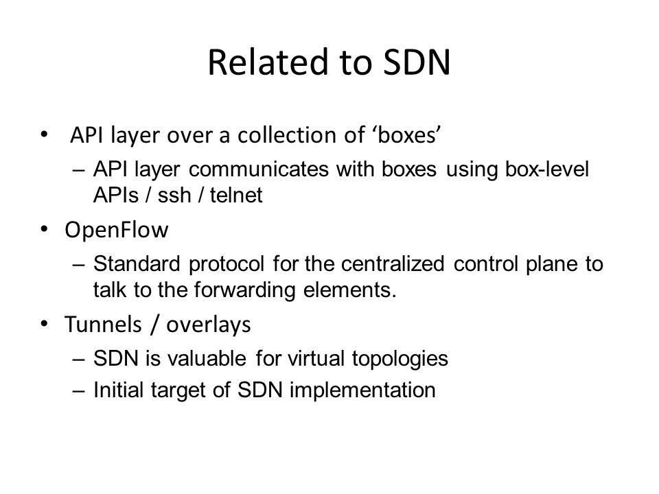 Centralized control plane MySQL/NoSQL Controller Cluster API Boxes Openflow/ssh/netconf/other
