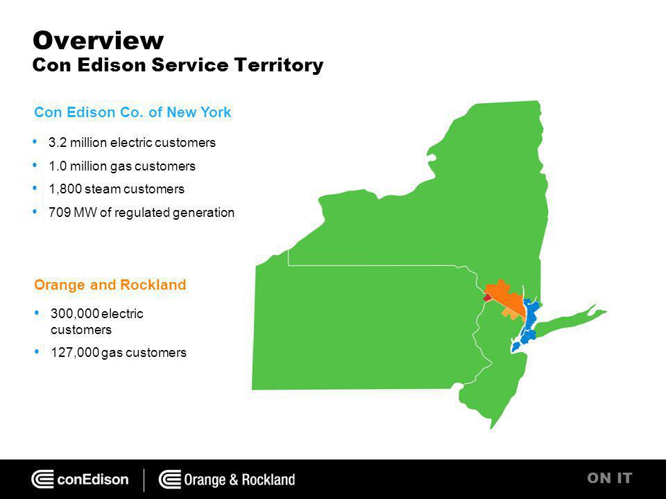 ON IT Overview Con Edison Service Territory 3.2 million electric customers 1.0 million gas customers 1,800 steam customers 709 MW of regulated generation Con Edison Co.