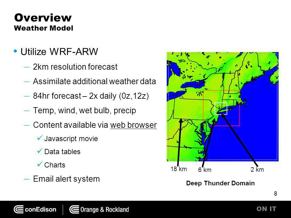 ON IT Overview Weather Model Utilize WRF-ARW – 2km resolution forecast – Assimilate additional weather data – 84hr forecast – 2x daily (0z,12z) – Temp, wind, wet bulb, precip – Content available via web browserweb browser Javascript movie Data tables Charts – Email alert system 8 Deep Thunder Domain 2 km 6 km 18 km