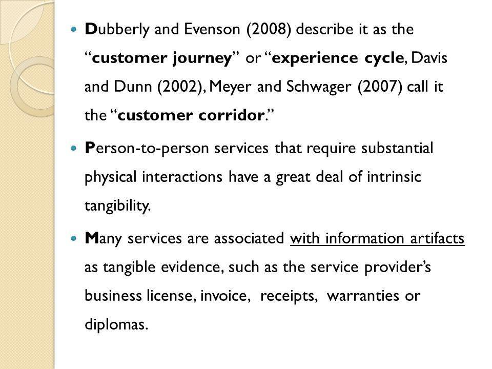 Dubberly and Evenson (2008) describe it as thecustomer journey or experience cycle, Davis and Dunn (2002), Meyer and Schwager (2007) call it the customer corridor.