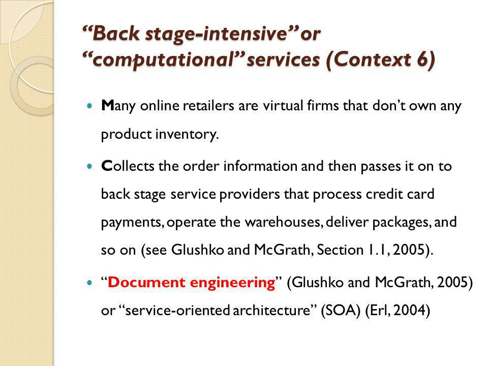 Back stage-intensive or computational services (Context 6) Many online retailers are virtual firms that dont own any product inventory. Collects the o