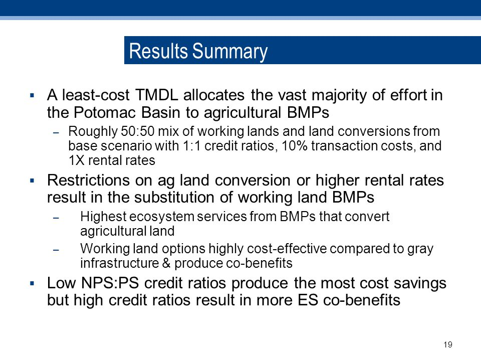 Results Summary A least-cost TMDL allocates the vast majority of effort in the Potomac Basin to agricultural BMPs – Roughly 50:50 mix of working lands and land conversions from base scenario with 1:1 credit ratios, 10% transaction costs, and 1X rental rates Restrictions on ag land conversion or higher rental rates result in the substitution of working land BMPs – Highest ecosystem services from BMPs that convert agricultural land – Working land options highly cost-effective compared to gray infrastructure & produce co-benefits Low NPS:PS credit ratios produce the most cost savings but high credit ratios result in more ES co-benefits 19