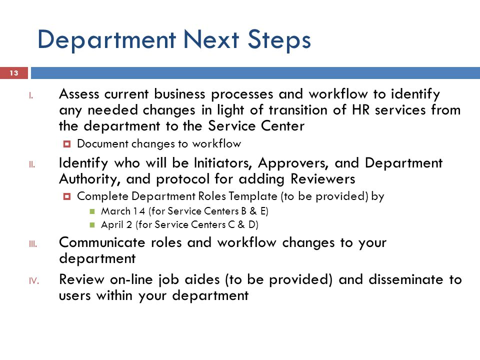 Department Next Steps I.