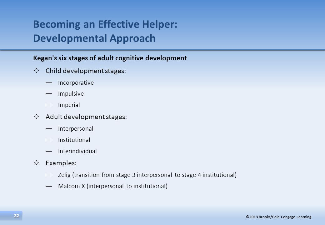 ©2013 Brooks/Cole Cengage Learning 22 Kegan's six stages of adult cognitive development Child development stages: Incorporative Impulsive Imperial Adu