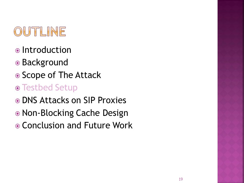 Introduction Background Scope of The Attack Testbed Setup DNS Attacks on SIP Proxies Non-Blocking Cache Design Conclusion and Future Work 19