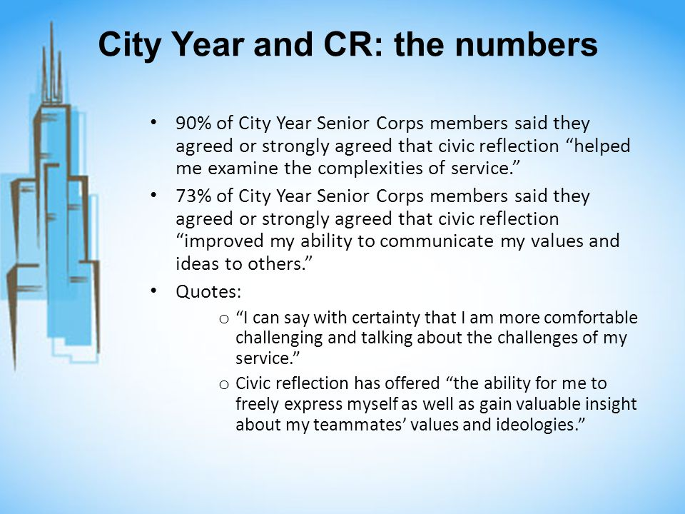 City Year and CR: the numbers 90% of City Year Senior Corps members said they agreed or strongly agreed that civic reflection helped me examine the co