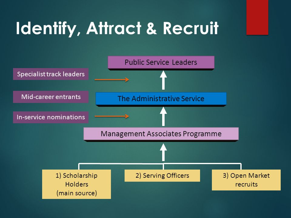 Management Associates Programme 2) Serving Officers1) Scholarship Holders (main source) 3) Open Market recruits The Administrative Service Public Service Leaders Identify, Attract & Recruit Specialist track leaders Mid-career entrants In-service nominations