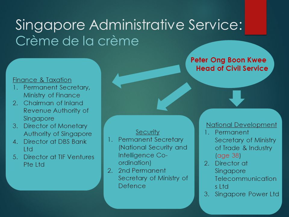 PUBLIC SERVICE CIVIL SERVICE ADMINISTRATIVE SERVICE Public Service 110,000 public officers working in 16 Ministries, over 60 Statutory Boards, and 9 Organs of State Civil Service 60,000 officers working in 16 Ministries and Organs of State Administrative Service Elite corps of officers (about 270) 0.0025% of Public Servants Singapore Civil Service: Today