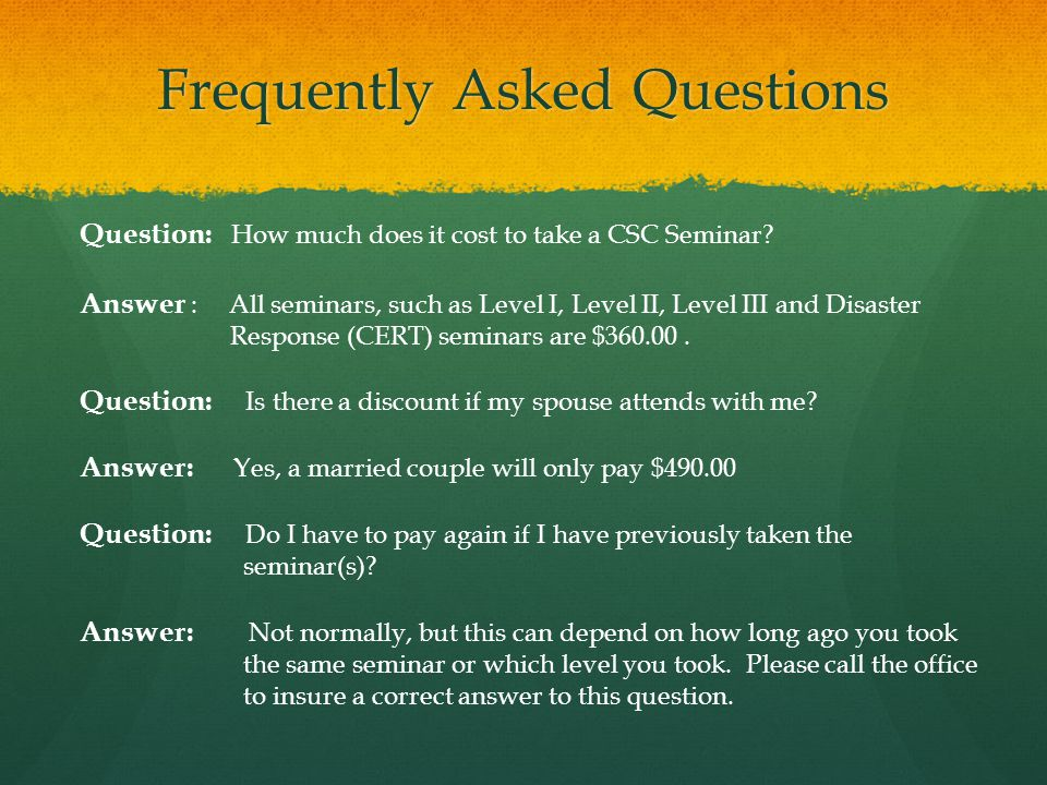 Frequently Asked Questions Question: Can I get academic credit for this course.