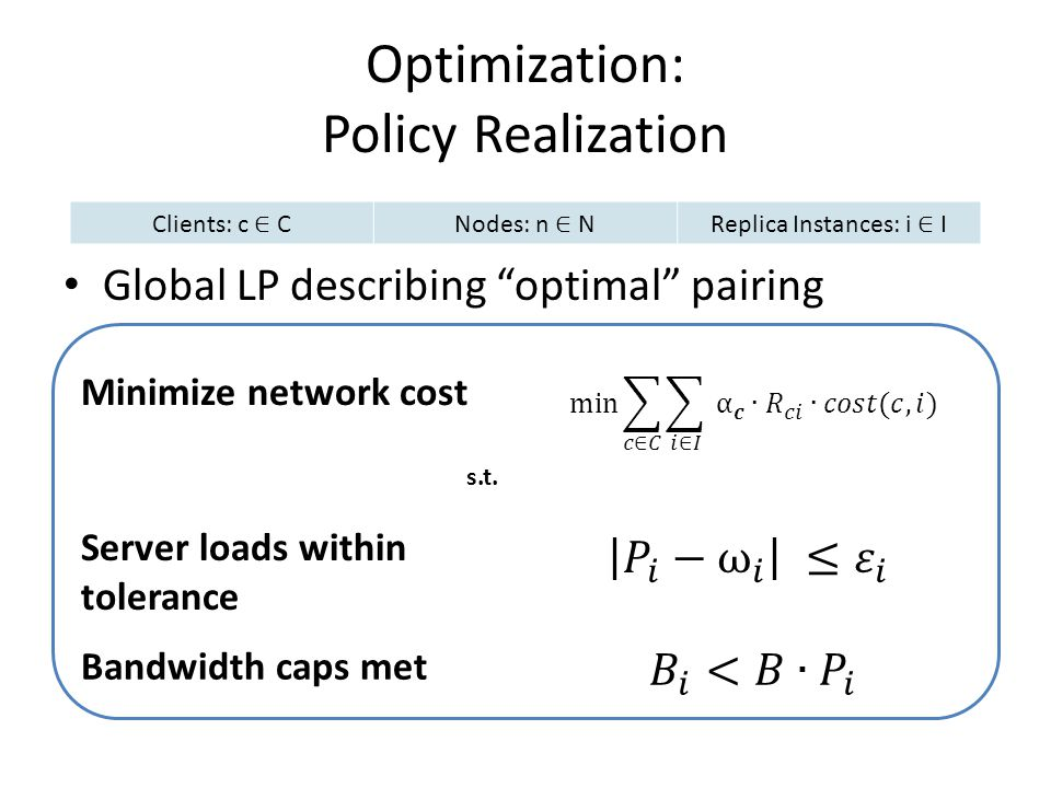 Optimization: Policy Realization Global LP describing optimal pairing Clients: c CNodes: n NReplica Instances: i I Minimize network cost Server loads within tolerance Bandwidth caps met s.t.