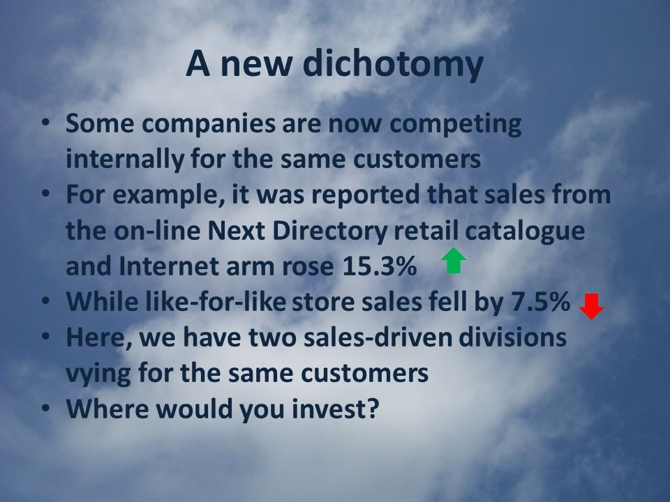 A new dichotomy Some companies are now competing internally for the same customers For example, it was reported that sales from the on-line Next Directory retail catalogue and Internet arm rose 15.3% While like-for-like store sales fell by 7.5% Here, we have two sales-driven divisions vying for the same customers Where would you invest