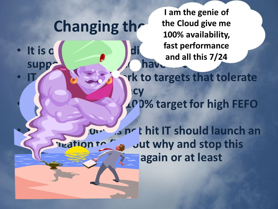 Changing the IT mindset It is obvious that traditional approaches to supporting IT services have to change IT can no longer work to targets that tolerate failure or complacency IT must adopting a 100% target for high FEFO ratings Whenever 100% is not hit IT should launch an investigation to find out why and stop this defect from occurring again or at least minimizing the risk.