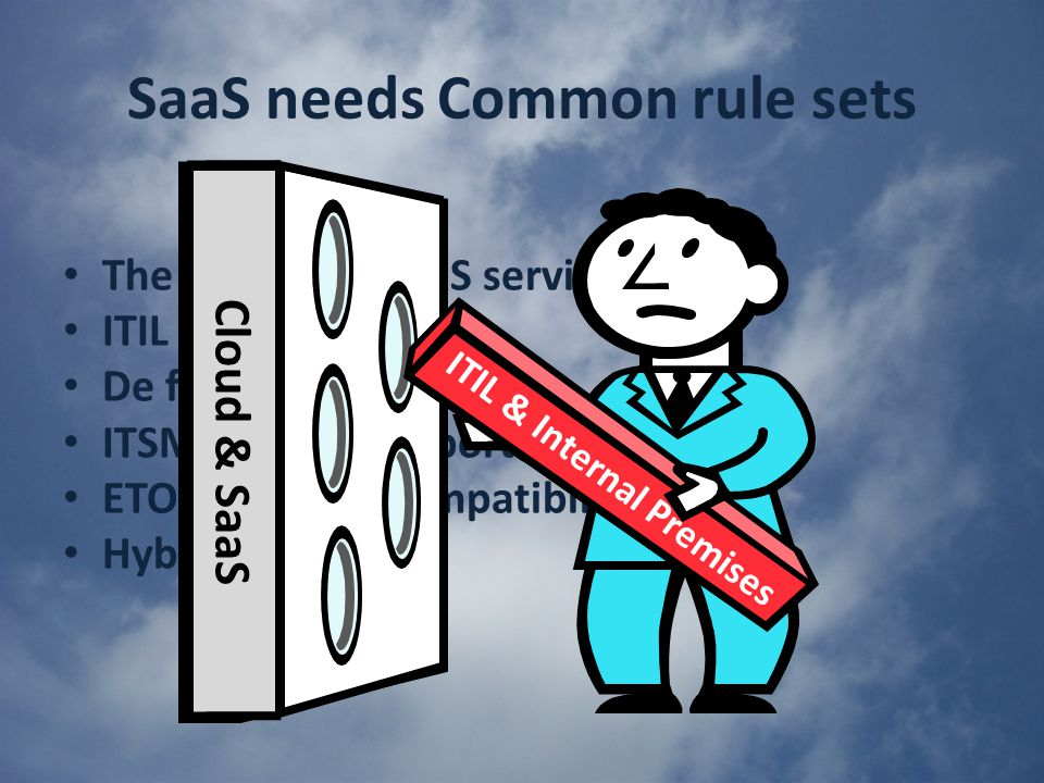 SaaS needs Common rule sets The cloud and SaaS services ITIL evolution De facto ITSM standard ITSM already supports SaaS ETOM has ITIL compatibility Hybrids Cloud & SaaS ITIL & Internal Premises