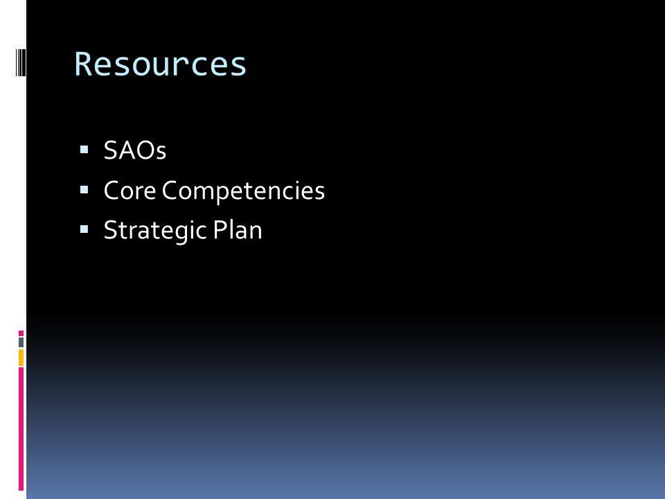 Resources SAOs Core Competencies Strategic Plan
