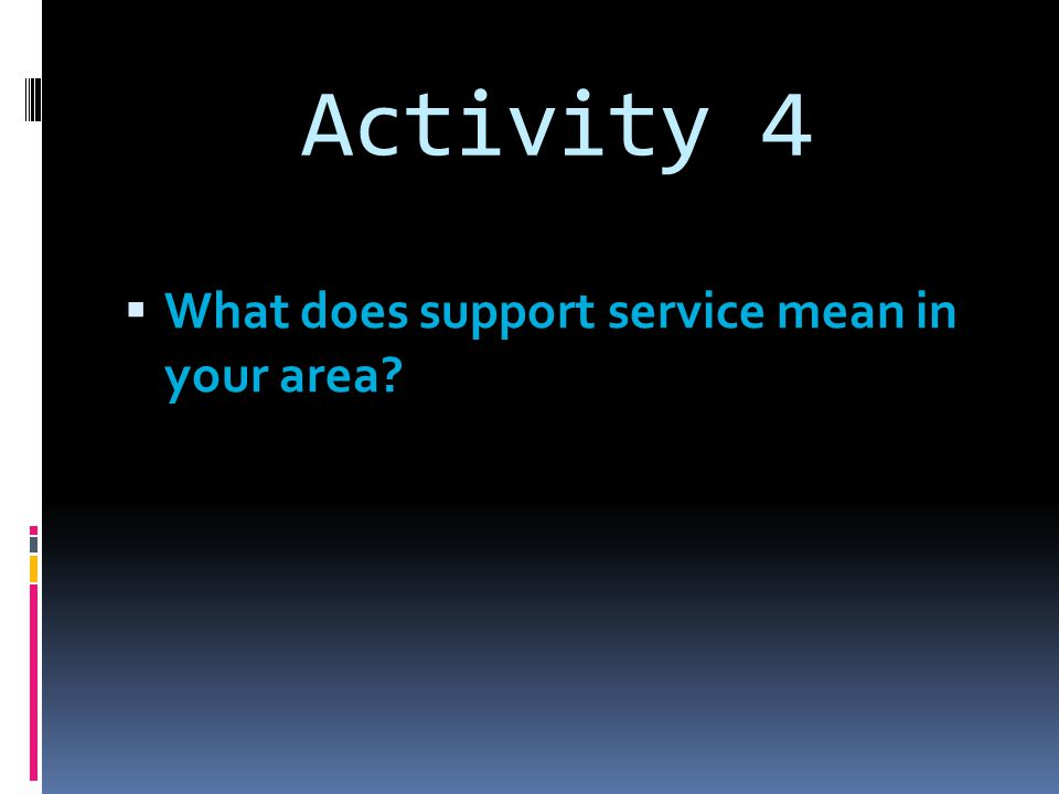 Activity 4 What does support service mean in your area?