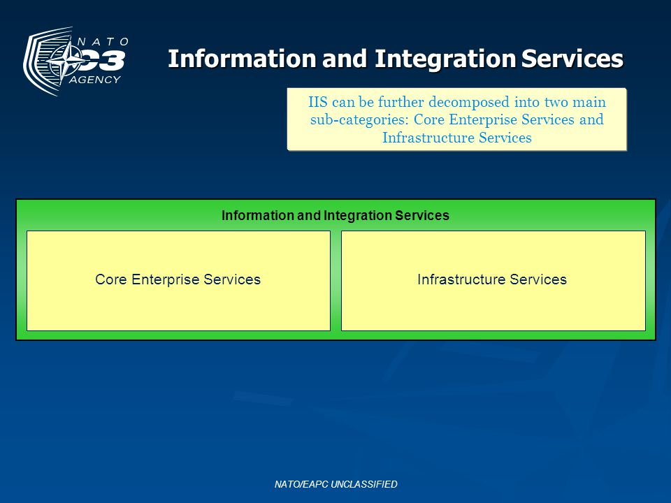 NATO/EAPC UNCLASSIFIED Information and Integration Services IIS can be further decomposed into two main sub-categories: Core Enterprise Services and I