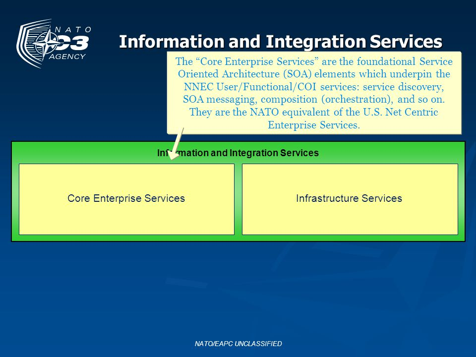 NATO/EAPC UNCLASSIFIED Information and Integration Services The Infrastructure Services are the other core services in the IT sense: processing and storage grids, virtualization, print services, etc.