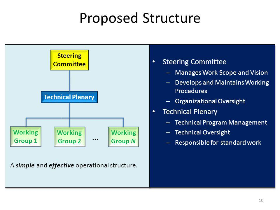 Proposed Structure Steering Committee – Manages Work Scope and Vision – Develops and Maintains Working Procedures – Organizational Oversight Technical