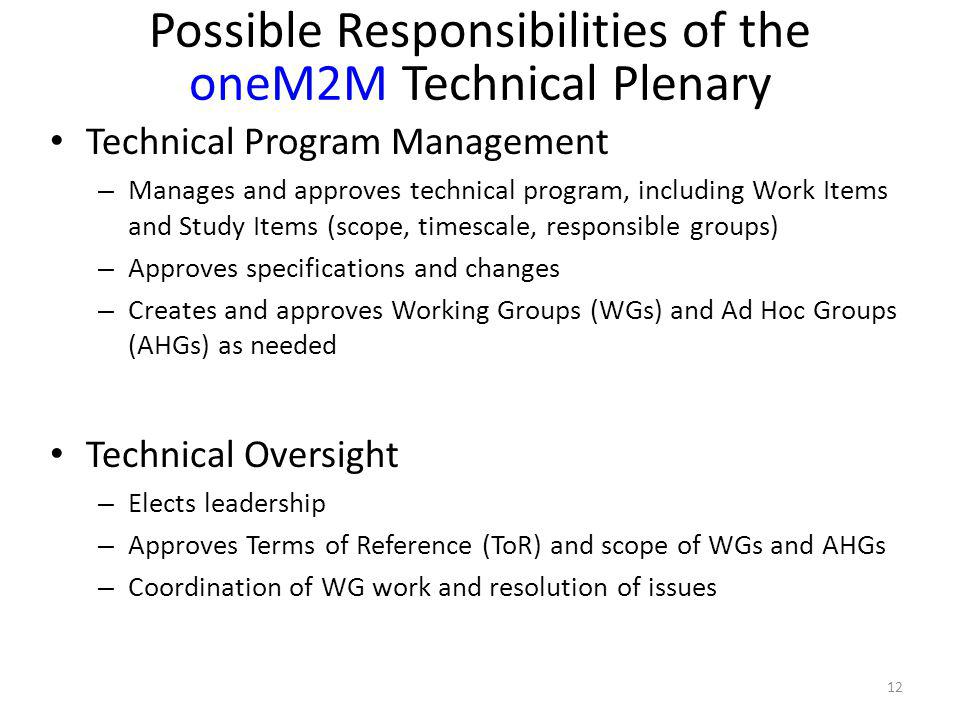 Technical Program Management – Manages and approves technical program, including Work Items and Study Items (scope, timescale, responsible groups) – A