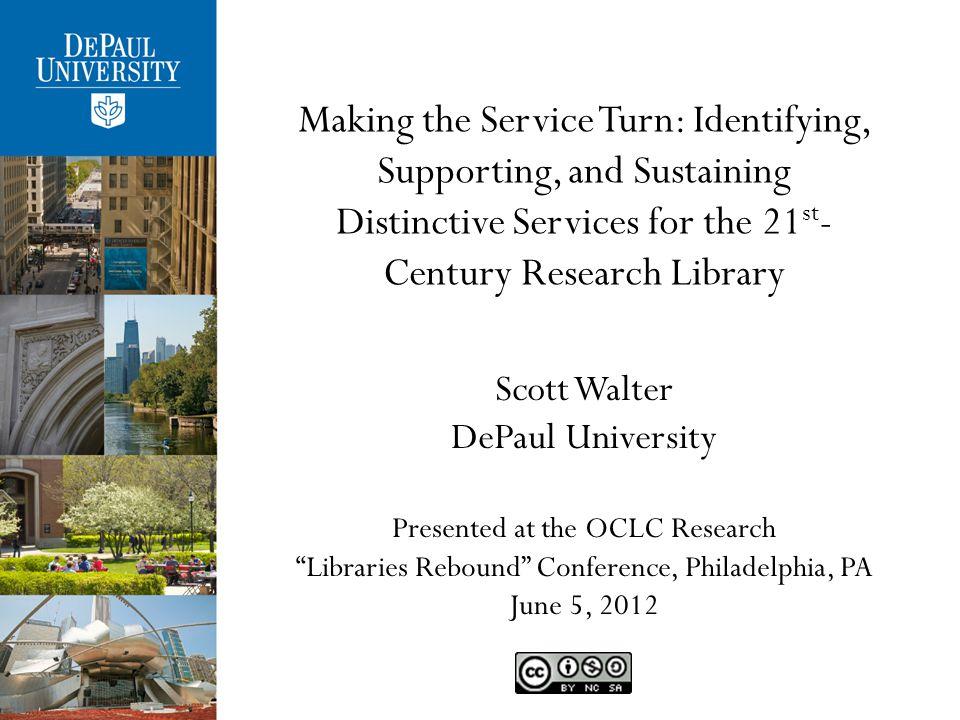 Contact Scott Walter, M.L.S., Ph.D. University Librarian DePaul University swalte11@depaul.edu