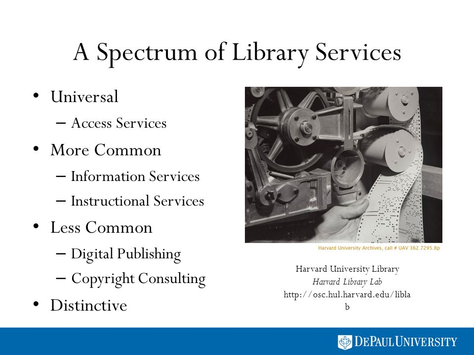 A Spectrum of Library Services Universal – Access Services More Common – Information Services – Instructional Services Less Common – Digital Publishin