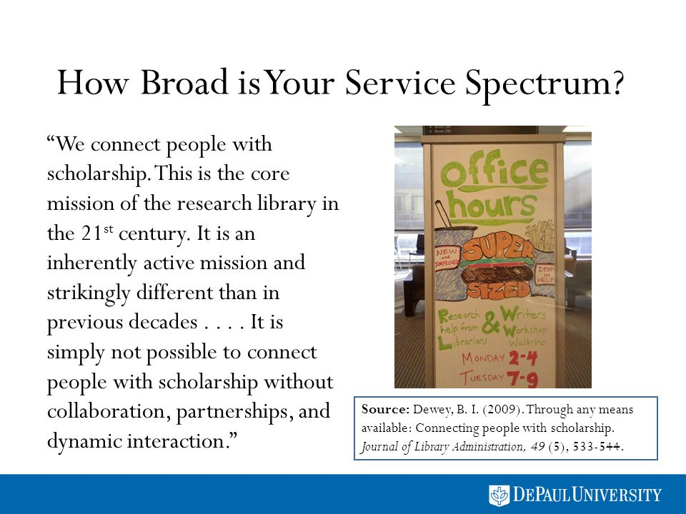 How Broad is Your Service Spectrum? We connect people with scholarship. This is the core mission of the research library in the 21 st century. It is a