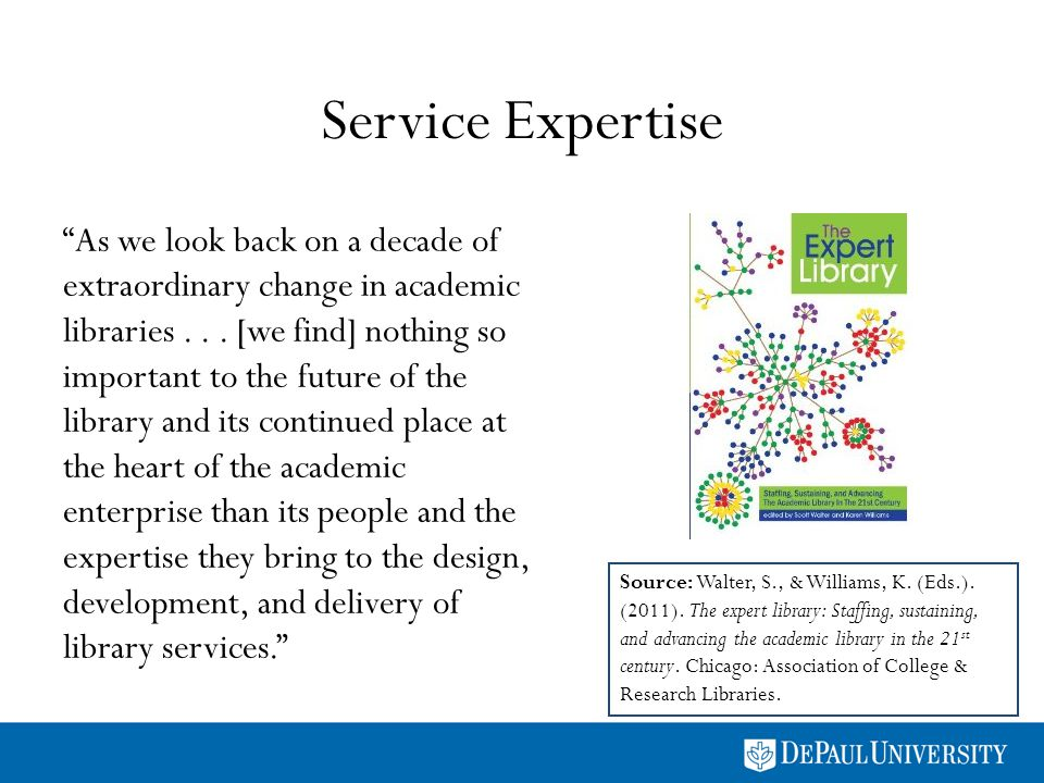 Service Expertise Source: Walter, S., & Williams, K. (Eds.). (2011). The expert library: Staffing, sustaining, and advancing the academic library in t