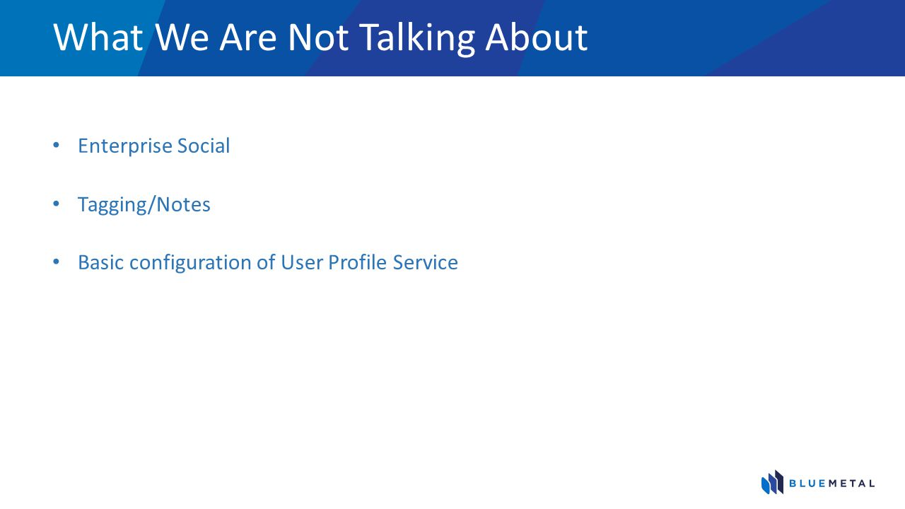 What We Are Not Talking About Enterprise Social Tagging/Notes Basic configuration of User Profile Service