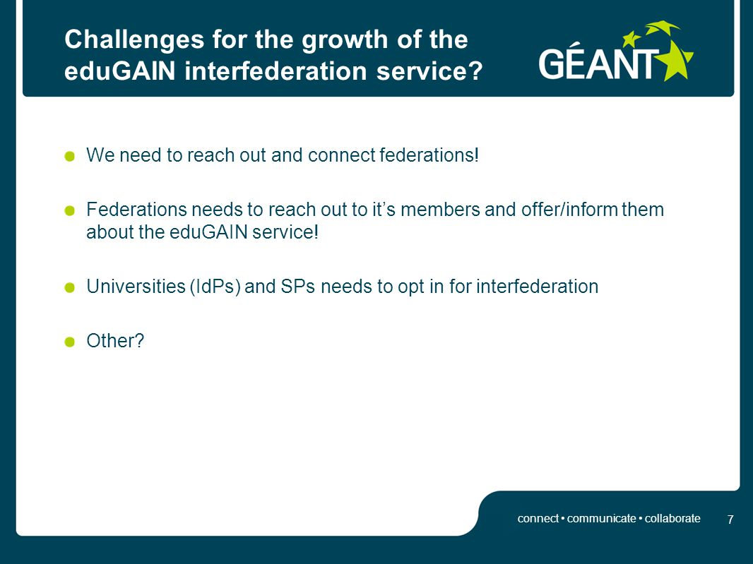 Innovation through participation 7 connect communicate collaborate Challenges for the growth of the eduGAIN interfederation service.