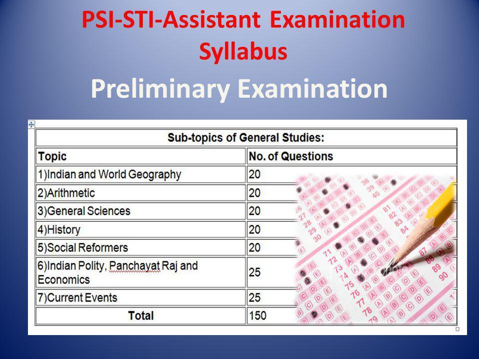 PSI-STI-Assistant Examination Syllabus Preliminary Examination