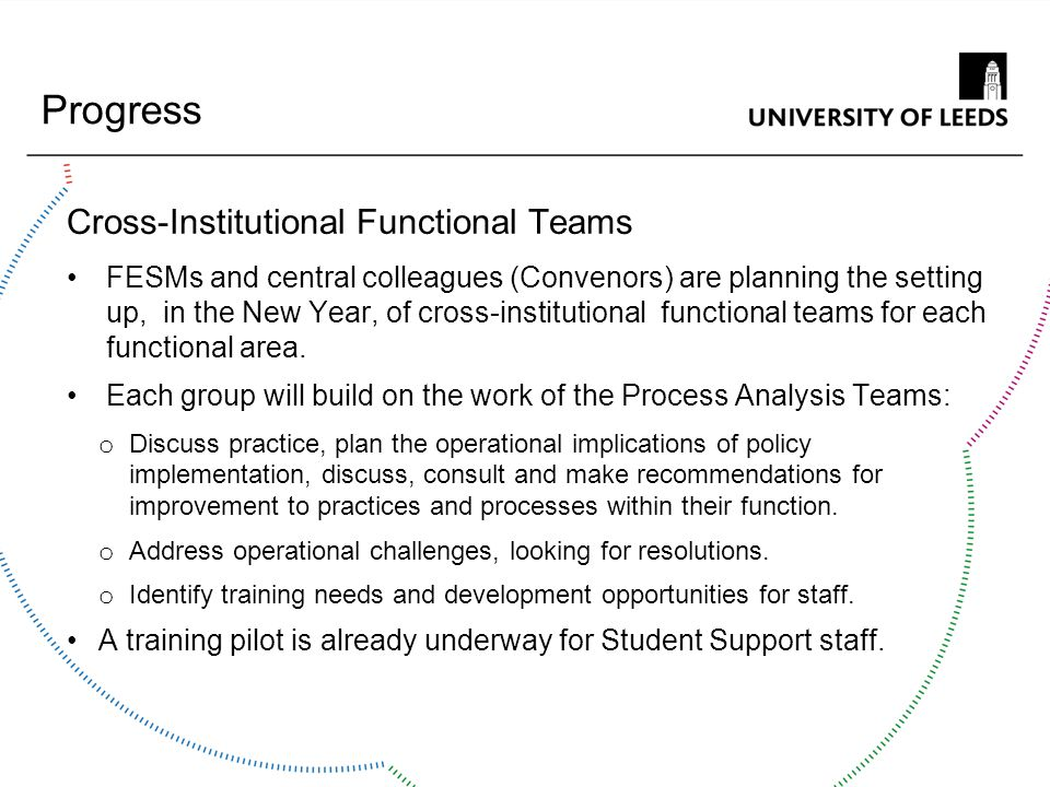 Progress Cross-Institutional Functional Teams FESMs and central colleagues (Convenors) are planning the setting up, in the New Year, of cross-institut