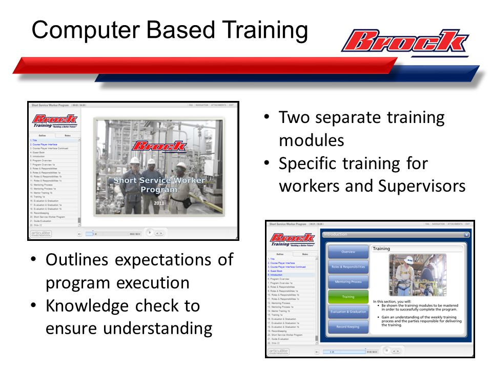Two separate training modules Specific training for workers and Supervisors Computer Based Training Outlines expectations of program execution Knowled