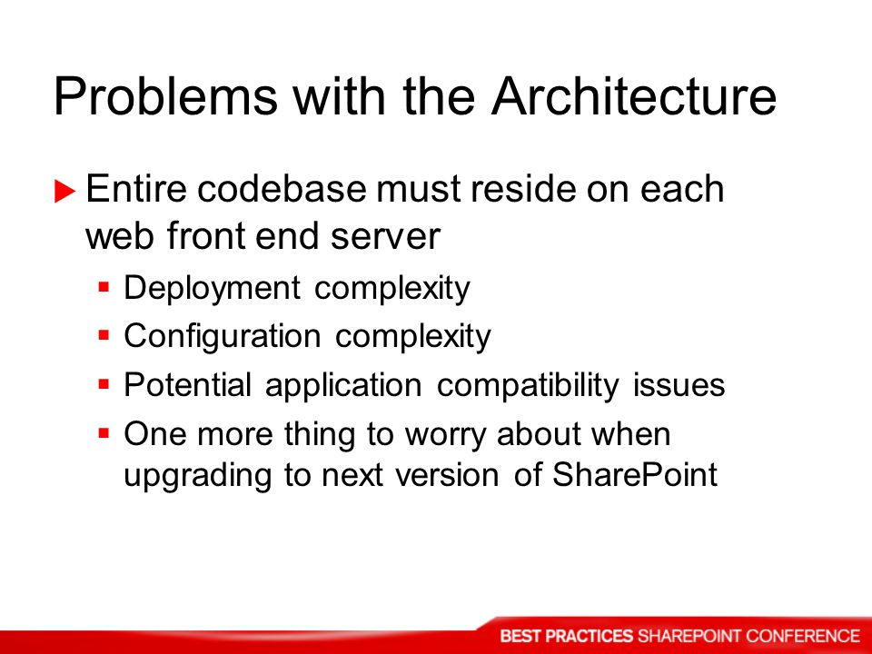 Problems with the Architecture Entire codebase must reside on each web front end server Deployment complexity Configuration complexity Potential application compatibility issues One more thing to worry about when upgrading to next version of SharePoint