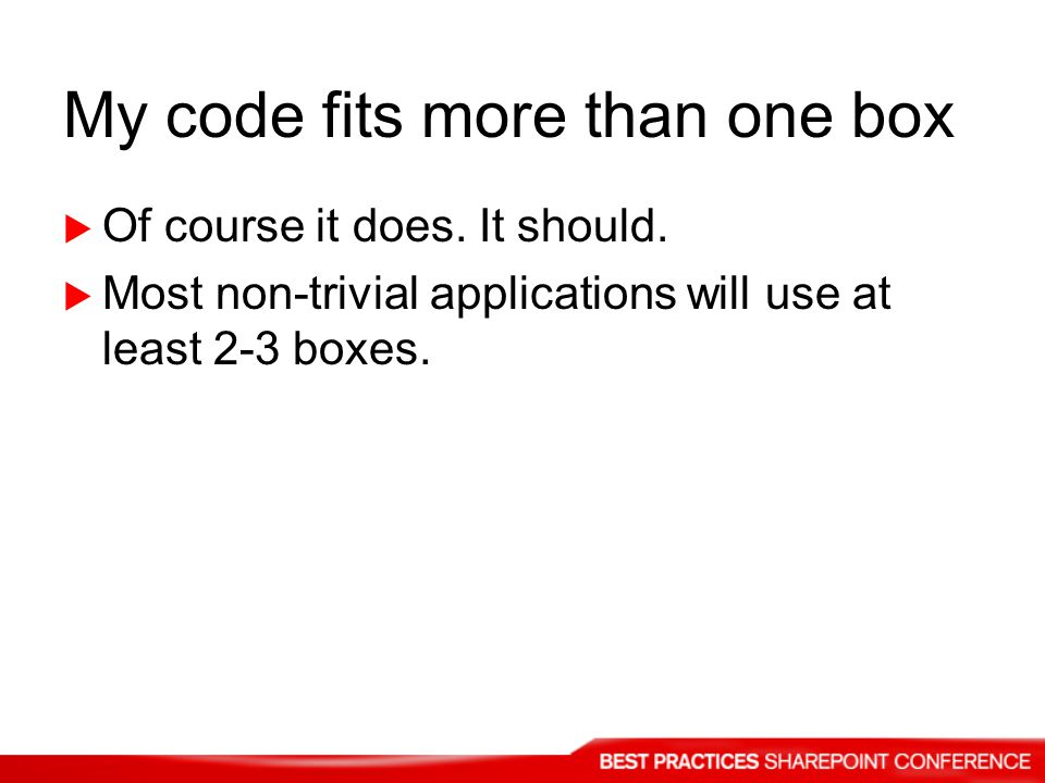 My code fits more than one box Of course it does. It should.