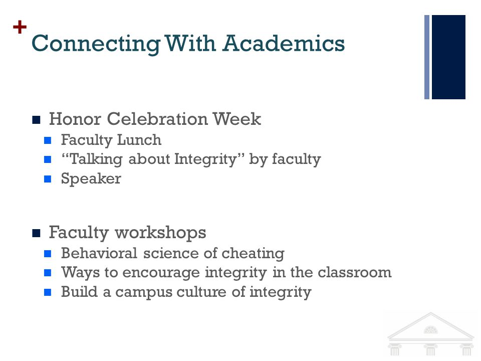+ Connecting With Academics Honor Celebration Week Faculty Lunch Talking about Integrity by faculty Speaker Faculty workshops Behavioral science of cheating Ways to encourage integrity in the classroom Build a campus culture of integrity
