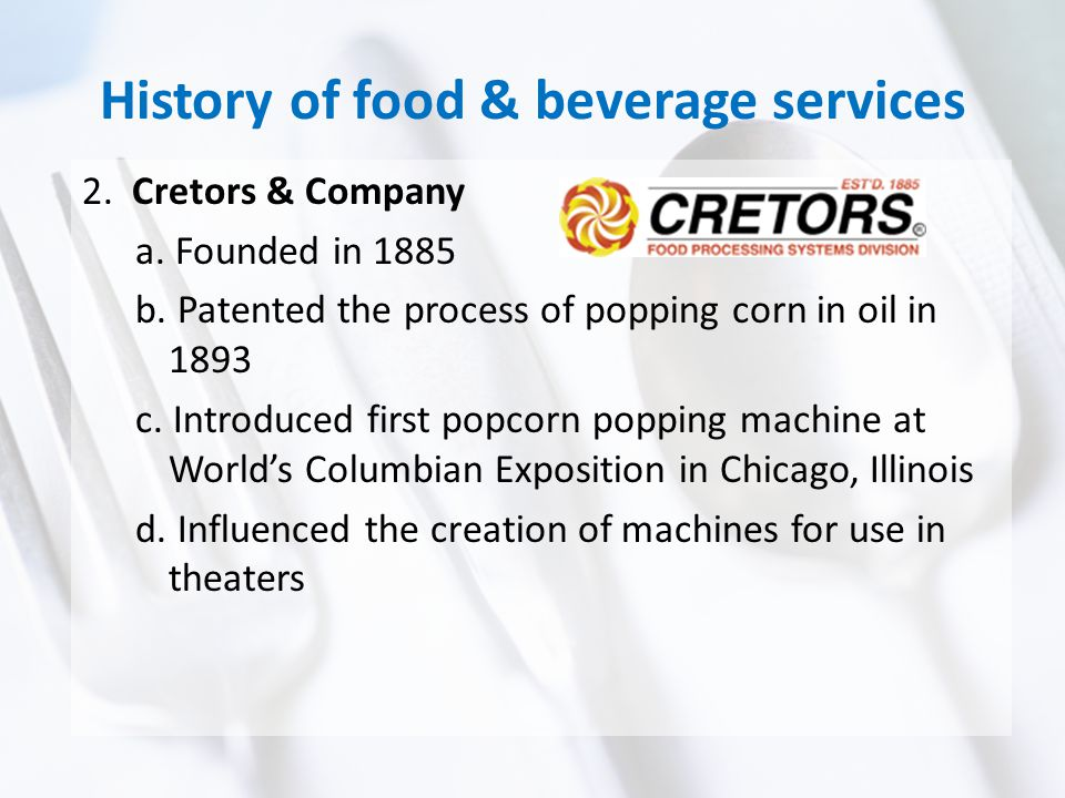History of food & beverage services 3.National Association of Concessionaires - NAC a.