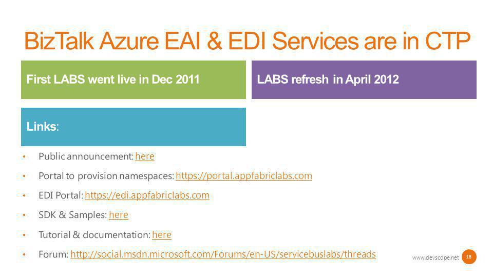 BizTalk Azure EAI & EDI Services are in CTP www.devscope.net 18 Public announcement: herehere Portal to provision namespaces: https://portal.appfabric