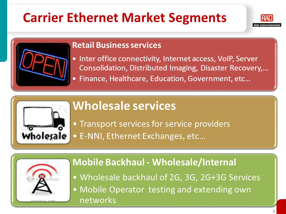 6 Carrier Ethernet Market Segments Retail Business services Inter office connectivity, Internet access, VoIP, Server Consolidation, Distributed Imaging, Disaster Recovery,… Finance, Healthcare, Education, Government, etc… Wholesale services Transport services for service providers E-NNI, Ethernet Exchanges, etc… Mobile Backhaul - Wholesale/Internal Wholesale backhaul of 2G, 3G, 2G+3G Services Mobile Operator testing and extending own networks
