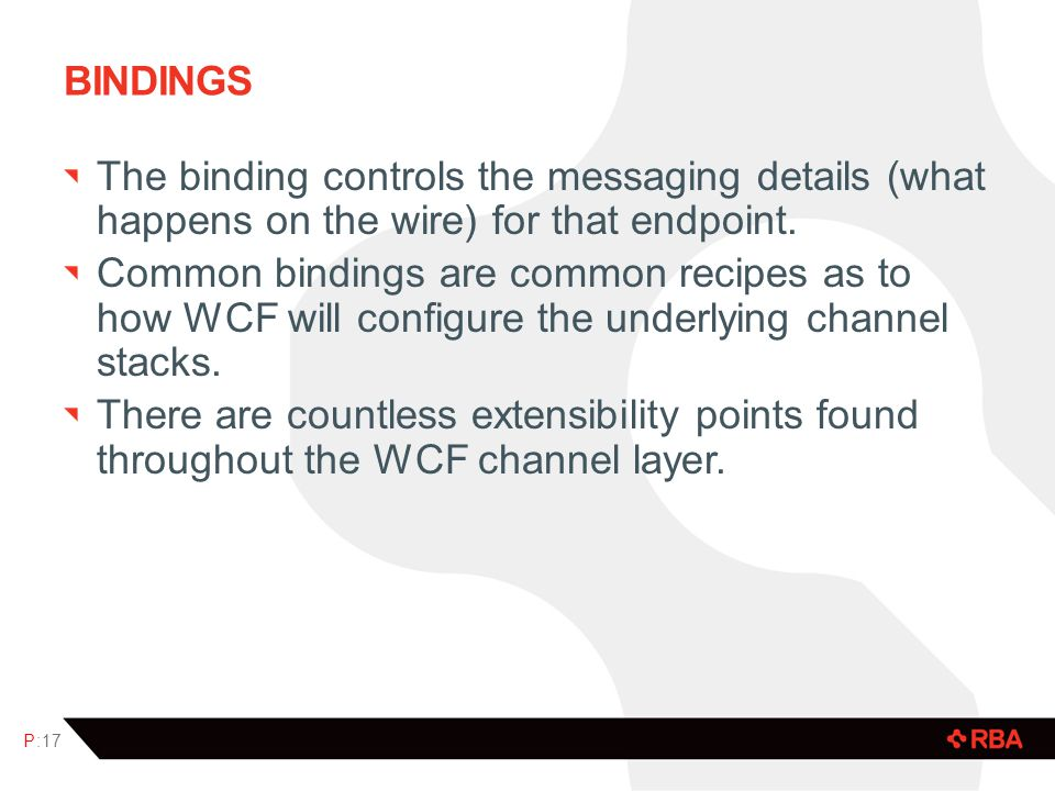 BINDINGS The binding controls the messaging details (what happens on the wire) for that endpoint.
