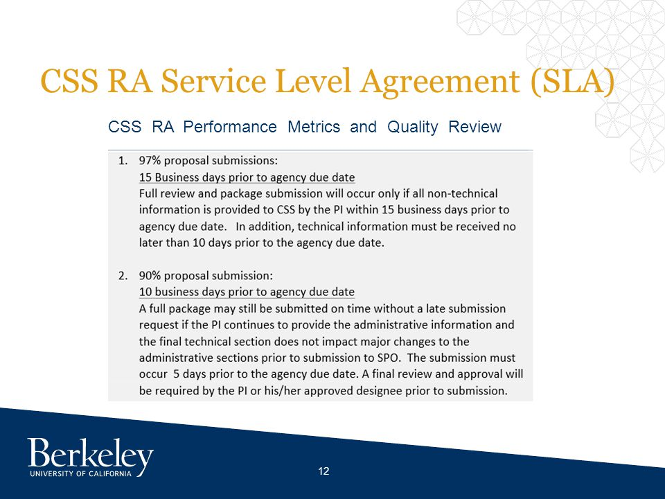 CSS RA Service Level Agreement (SLA) CSS RA Performance Metrics and Quality Review 12