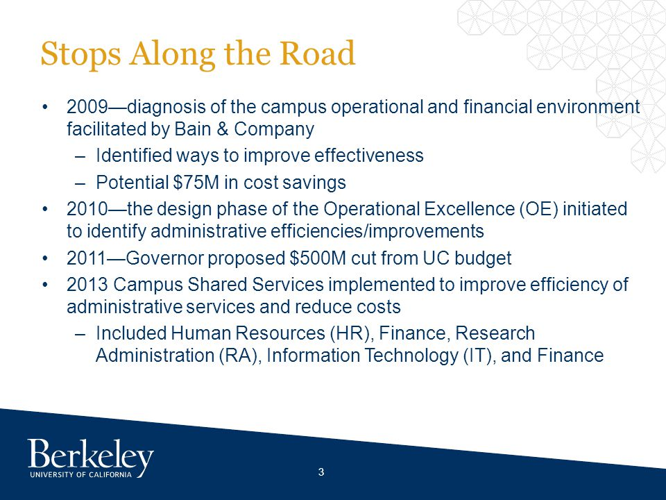 Stops Along the Road 2009diagnosis of the campus operational and financial environment facilitated by Bain & Company –Identified ways to improve effectiveness –Potential $75M in cost savings 2010the design phase of the Operational Excellence (OE) initiated to identify administrative efficiencies/improvements 2011Governor proposed $500M cut from UC budget 2013 Campus Shared Services implemented to improve efficiency of administrative services and reduce costs –Included Human Resources (HR), Finance, Research Administration (RA), Information Technology (IT), and Finance 3